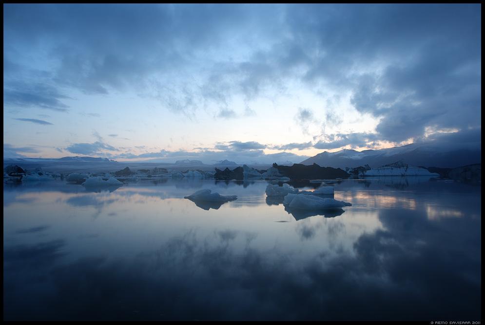 Island, Iceland, Jokulsarlon, glacier lake, öövaikus, night