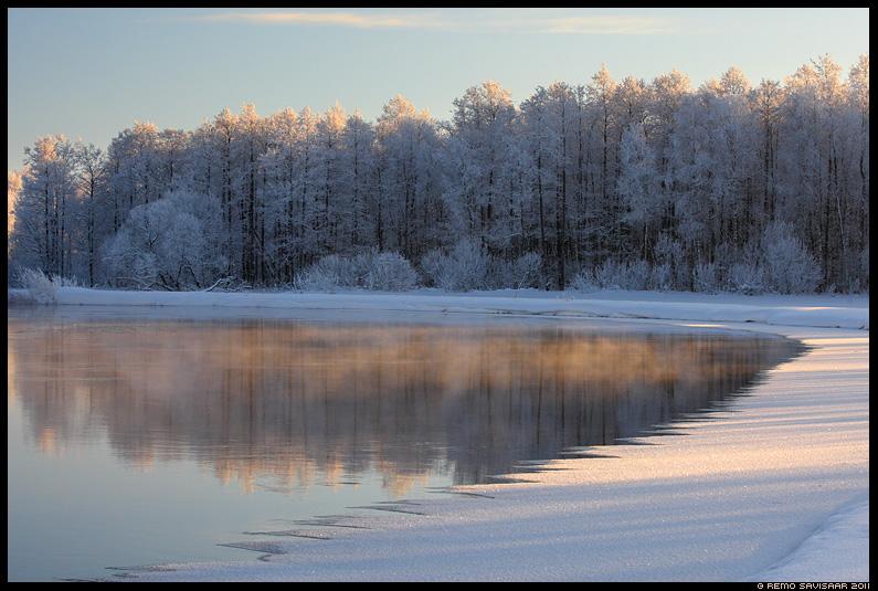 Aurab, Steaming, Härmarüüs, Frosty, talv, jõgi, vesi, emajõgi, härmas, härmatis, frost, frosty, lumi, jää, õhtu