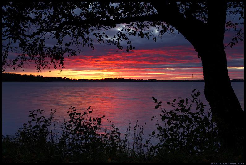 Leegitsev taevas, Sky in flames, saadjärv, järv, vesi, water, lake, loojang, sunset, õhtu, sügis, autumn, fall