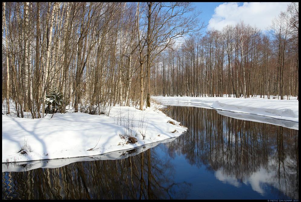 jõgi, river, kevad, lumi, kevadveed, sula